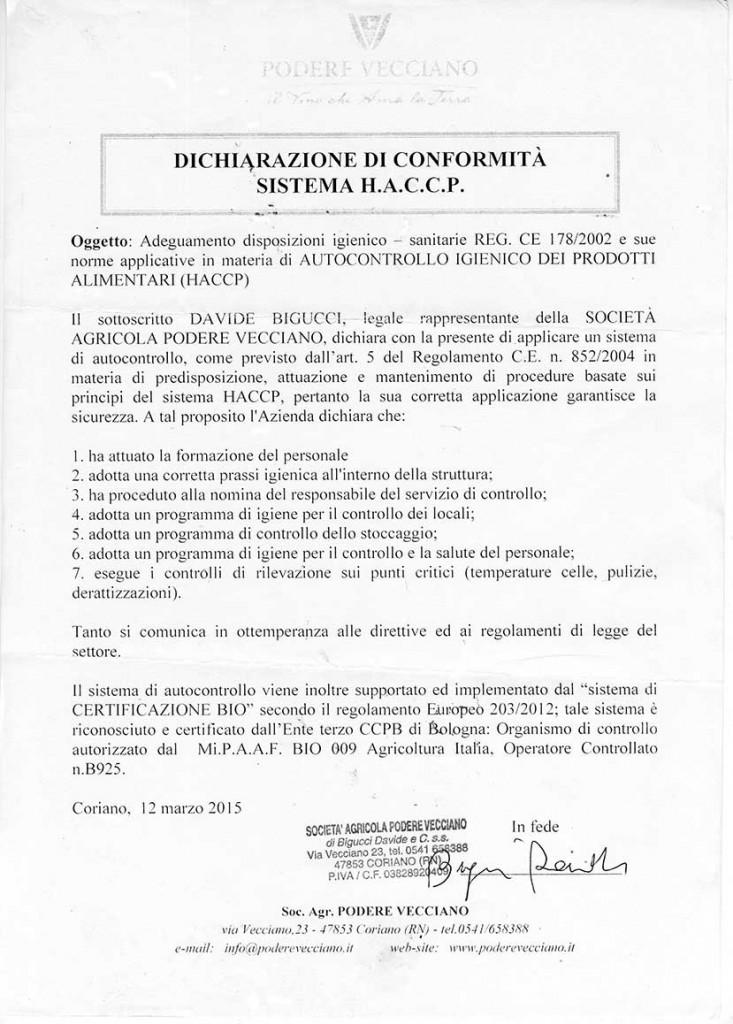 Certificazione HACCP Podere Vecciano